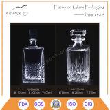 Frasco de vidro dos licores da forma quadrada com selo de vidro da cortiça