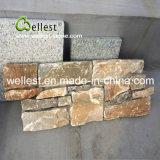 أصفر خشبيّة طبيعيّ يكدّر حجارة لأنّ جدار
