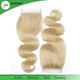 Fermeture blonde brésilienne de lacet des parties 4X4 de fermeture des cheveux humains 613 d'onde de corps