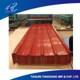 Toiture ondulée galvanisée enduite de Galvalume de couleur rouge