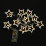 Luz de madera de la cadena de la batería de la estrella de la luz del festival de la luz de la batería del LED