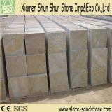 Heiße Verkaufs-Gelb-Schiefer-Stein-Furnier-Blattfußboden-Fliese