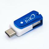 Plástico USB-C 3.1 e leitor de cartão do USB-um 2.0 (2-in-1) micro SD (TF) para o Esperto-Telefone, o MacBook e o PC no azul