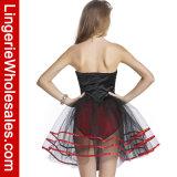 Robe sexy de costume de lingerie de tirette d'avant de tutu de jupe sans bretelles de luxe de Tulle pour des femmes