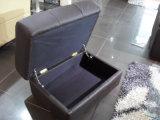 Form-schwarzes ledernes Sofa mit Ecke