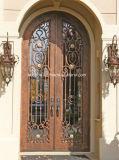 Portas de entrada superiores redondas cheias do dobro do ferro feito para a casa
