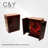Caixa portátil preta de madeira personalizada luxo do vinho para empacotar