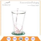 Taza de cristal de cristal de la pared doble de 8 onzas para el té