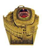Fantasy Football Gold Championship Ring Médaille du stade avec ruban rouge / blanc et bleu en V-Neck / Trophée