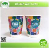 Устранимые бумажные стаканчики, двойные чашки стены, кофейные чашки