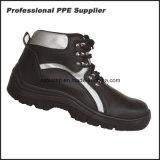 Ботинки безопасности кожи стального пальца ноги высокого отрезока и стальной плиты