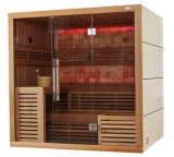 Vente en gros Harvia Heater Canadian Cedar Wood Colorful LED Light Dry Sauna Room M-6055