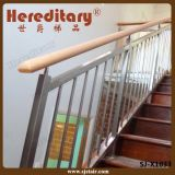 階段の木製の手すりが付いているステンレス鋼の棒の手すりは分ける(SJ-X1014)