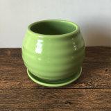 Handmade цветочный горшок зеленого цвета керамический