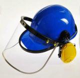 일 헬멧과 귀덮개 세트를 가진 굵은 활자 안전 가면