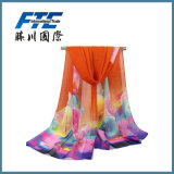 Fashion Flower Printed Silk女性軽くて柔らかい無限ばねのスカーフ