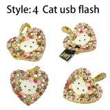 USB Pendrive del gatito de la historieta de memoria Flash del USB de la joyería