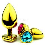 Gouden Hart Gestalte gegeven Kleine Grootte 28mm X 70mm GS0312 van het Speelgoed van het Geslacht van de Stop van het Uiteinde van de Juwelen van het Kristal van het Roestvrij staal Anale