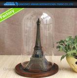 Campana de cristal de cristal del Cloche de la bóveda con la base calculada de madera de la nuez