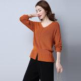 Últimos suéteres ocasionales de Kintted que desgastan para el V-Cuello de las mujeres