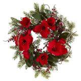 24in. Grande corona del Amaryllis con grande Non-Lit rossa di seta dei fiori (MY310.245.00)