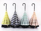 Зонтик двойных сен портативный Handsfree прямой обратный перевернутый