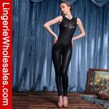 Traje Sleeveless preto do Jumpsuit do couro traseiro do Zipper de Catsuit das mulheres da forma