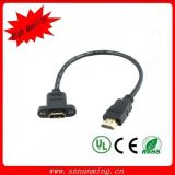 HDMI Female Panel Mount HDMI Cable에 금 Plated 1.4V HDMI Male