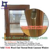 Janela de aço inoxidável de madeira de carvalho / teca de estilo popular europeu e americano padrão, janela de inclinação e voltas com gradeada total dividida