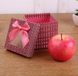 Rectángulo de regalo de papel transparente cuadrado creativo con Bowknot bonito, rectángulo de regalo de Apple de la Navidad, rectángulo de regalo del caramelo, Niza caja de embalaje