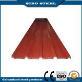 La couleur a enduit la feuille galvanisée enduite d'une première couche de peinture de tuile de toiture