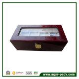 Caisse en bois à haute brillance de montre-bracelet avec le couvercle en verre