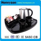 Черный чайник раковины двойника цвета с подносом для пользы гостиницы
