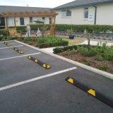 Gummiauto-Parken-Sicherheits-Rad-Stopper mit gelbem Reflektor