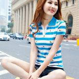 Moda 100% camisa de algodón Campo de Polo de rayas personalizada