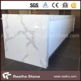 Laje de pedra artificial branca da pedra de quartzo de Calacatta da neve para a bancada do console de cozinha