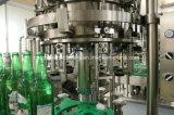 Maquinaria tampando de enchimento da cerveja do frasco de vidro