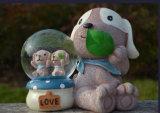 Globo dell'acqua del globo della neve della decorazione della casa del coniglio della resina di Polyesin