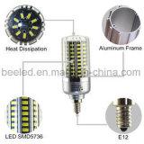 La luz E12 20W del maíz del LED refresca la lámpara de plata blanca del bulbo de la carrocería LED del color