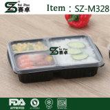 Recipiente de alimentos plásticos rectos limpos com 3 compartimentos