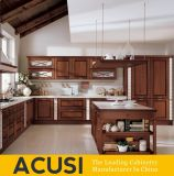 Mobília clássica da cozinha do gabinete de cozinha da madeira contínua do estilo por atacado do console (ACS2-W05)