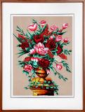 들것을%s 가진 아름다운 까만 로즈 꽃 벽 훈장 색칠