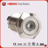 CE RoHS (19mm) Interruptor de botão industrial de bloqueio momentâneo de iluminação do anel