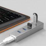 Alumínio 4 portas USB Splitter Mini USB 3.0 Hub
