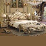 Деревянная кровать с листовым золотом для античной мебели спальни