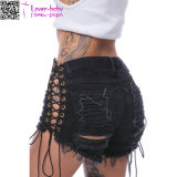 Side Lace-up Broken Holes Black Shorts Calças L547