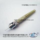Conector óptico de fibra del St 3.0m m de la alta calidad de Hj-03023-B con la virola