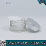 50ml Clear Round Cosmetic Glass Cream Jars with Alumite Lids