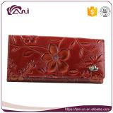 新しい方法花の財布、浮彫りにされた花が付いている女性の革札入れ