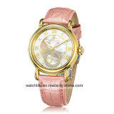 Moda Diamond Quartz Leather Strap Sapphire Lady Relógio de pulso